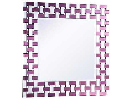 Elegant Lighting Modern 39'' Square Purple & Clear Wall Mirror