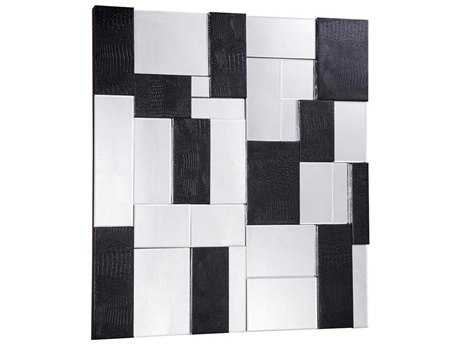 Elegant Lighting Modern 47'' Square Black & Clear Wall Mirror