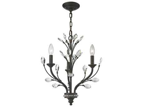 Elk Lighting Crystal Branches Burnt Bronze Three-Light 18'' Wide Mini-Chandelier