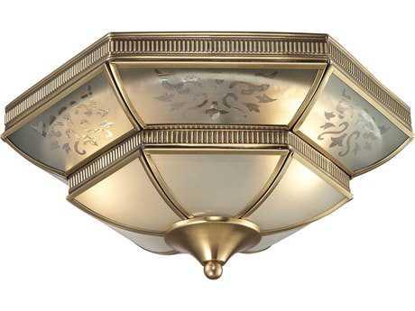 Elk Lighting French Damask Brushed Brass Two-Light 14'' Wide Flush Mount Light