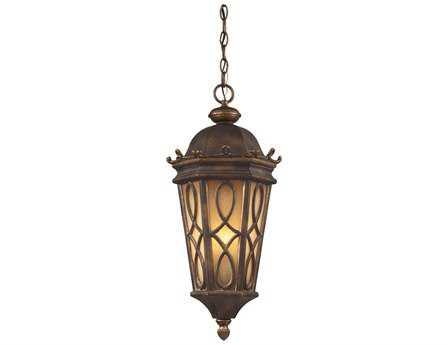 Elk Lighting Burlington Junction Hazelnut Bronze & Amber Scavo Glass Three-Light 10'' Wide LED Outdoor Pendant
