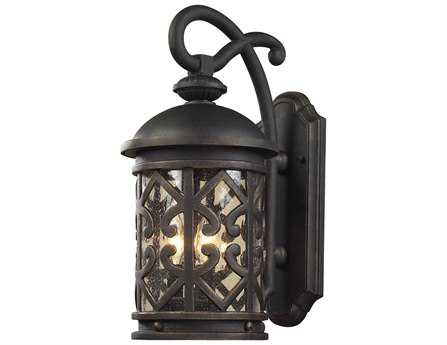 Elk Lighting Tuscany Coast Weathered Charcoal & Clear Seeded Glass Three-Light Outdoor Wall Light