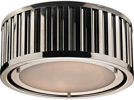 Elk Lighting Linden Polished Nickel Two-Light 12'' Wide Flush Mount Light