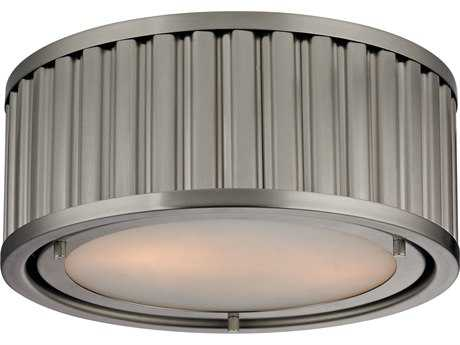 Elk Lighting Linden Brushed Nickel Two-Light 12'' Wide Flush Mount Light