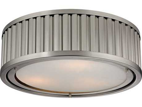 Elk Lighting Linden Brushed Nickel Three-Light 16'' Wide Flush Mount Light