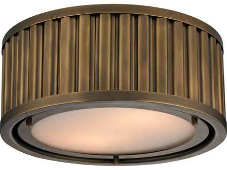 Elk Lighting Linden Aged Brass Two-Light 12'' Wide Flush Mount Light