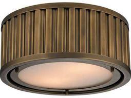 Elk Lighting Linden Aged Brass Two-Light 12'' Wide Flush Mount Light