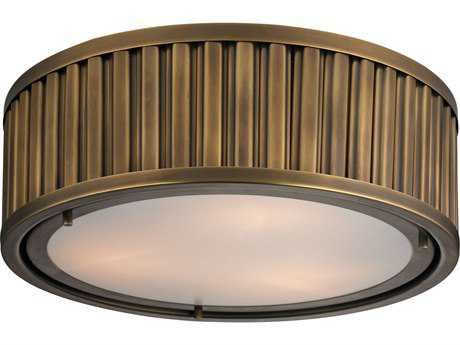 Elk Lighting Linden Aged Brass Three-Light 16'' Wide Flush Mount Light