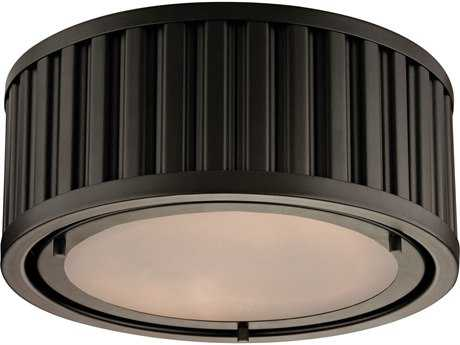 Elk Lighting Linden Oil Rubbed Bronze Two-Light 12'' Wide Flush Mount Light