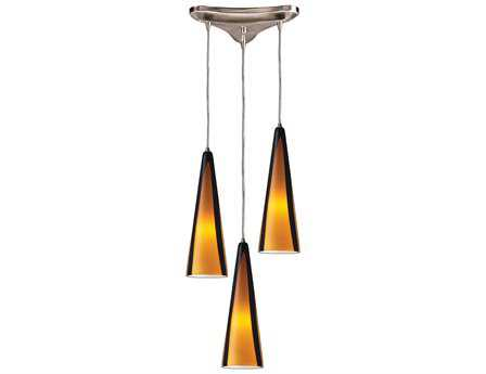 Elk Lighting Desert Winds Satin Nickel & Sahara Glass Three-Light 5'' Wide Pendant