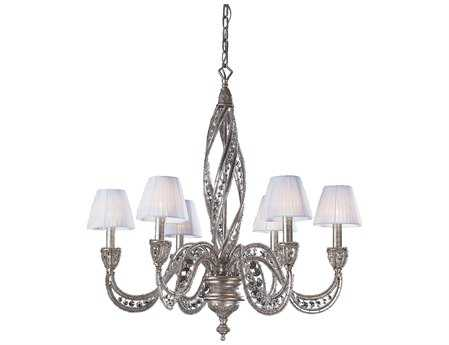 Elk Lighting Renaissance Sunset Silver & Crystal Accents Six-Light 28'' Wide Chandelier