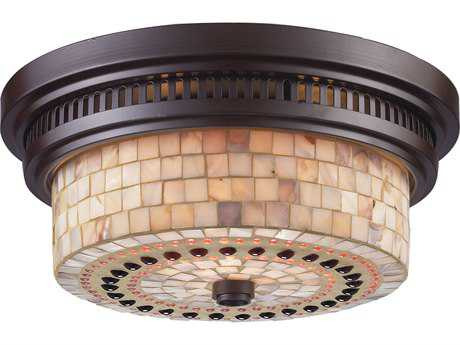 Elk Lighting Chadwick Oiled Bronze & Cappa Shells Two-Light 13'' Wide Flush Mount Light