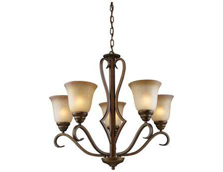 Elk Lighting Lawrenceville Mocha & Antique Amber Glass Five-Light 26'' Wide Chandelier