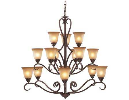 Elk Lighting Lawrenceville Mocha & Antique Amber Glass 15-Light 44'' Wide Chandelier
