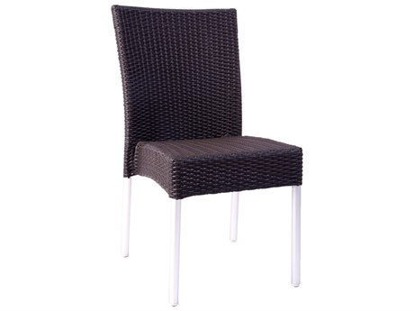 EMU Bella Aluminum Wicker Espresso Stacking Dining Side Chair (Sold in 4) PatioLiving