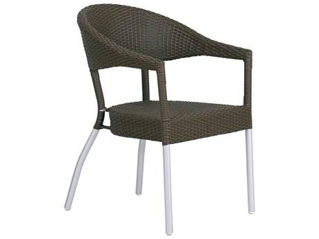 EMU Donna Aluminum Wicker Espresso Stacking Dining Arm Chair PatioLiving