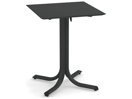 EMU System Steel 24''Wide Square Beveled Edge Top Bistro Table on Tilt Base