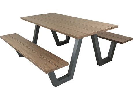 EMU Sid Aluminum 72''W x 30''D Rectangular Picnic Table