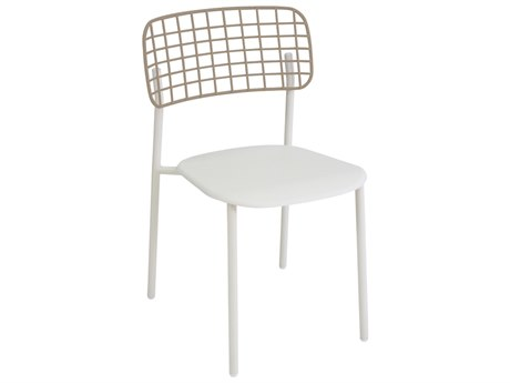 EMU Lyze Aluminum White Stacking Dining Side Chair PatioLiving
