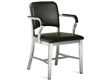 Emeco Outdoor Navy Aluminum Dining Arm Chair with Maharam Ledger Upholstered Seat