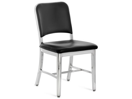 Emeco Outdoor Navy Aluminum  Dining Side Chair with Maharam Ledger Upholstered Seat