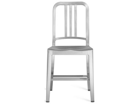 Emeco Outdoor Navy Brushed Aluminum Dining Side Chair PatioLiving