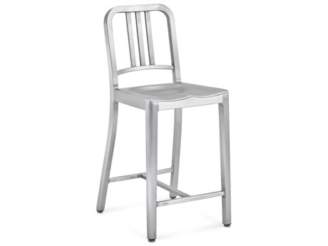 Emeco Outdoor Navy Brushed Aluminum Counter Stool PatioLiving