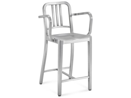 Emeco Outdoor Navy Brushed Aluminum Counter Stool with Arms PatioLiving