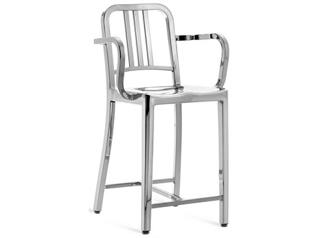 Emeco Outdoor Navy Polished Aluminum Counter Stool with Arms PatioLiving