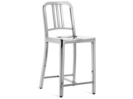Emeco Outdoor Navy Polished Aluminum Counter Stool PatioLiving