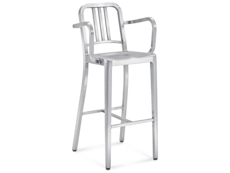 Emeco Outdoor Navy Brushed Aluminum Bar Stool with Arms PatioLiving