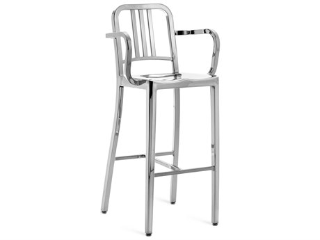 Emeco Outdoor Navy Polished Aluminum Bar Stool with Arms PatioLiving