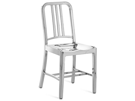 Emeco Outdoor Navy Polished Aluminum Dining Side Chair