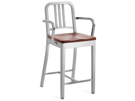 Emeco Outdoor Navy Brushed Aluminum Counter Stool with Cherry Wood Seat PatioLiving