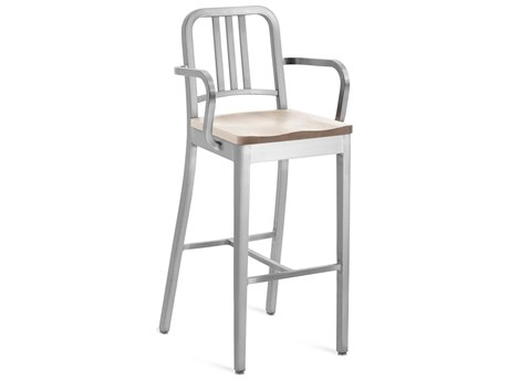 Emeco Outdoor Navy Brushed Aluminum Bar Stool with Ash Wood Seat PatioLiving