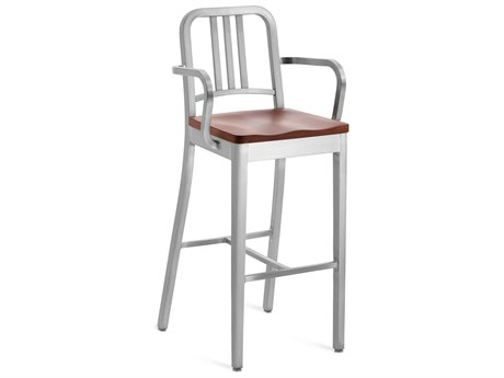 Emeco Outdoor Navy Brushed Aluminum Bar Stool with Walnut Wood Seat PatioLiving