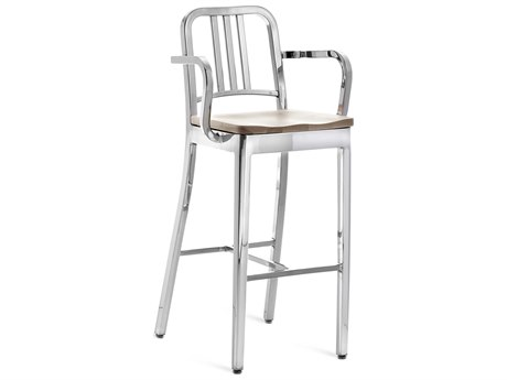 Emeco Outdoor Navy Polished Aluminum Bar Stool with Ash Wood Seat PatioLiving