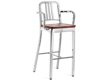Emeco Outdoor Navy Polished Aluminum Bar Stool with Walnut Wood Seat PatioLiving