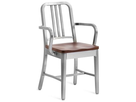 Emeco Outdoor Navy Brushed Aluminum Dining Arm Chair with Cherry Wood Seat PatioLiving