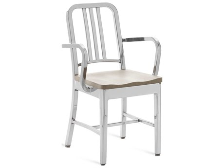 Emeco Outdoor Navy Polished Aluminum Dining Arm Chair with Ash Wood Seat PatioLiving