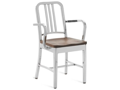 Emeco Outdoor Navy Polished Aluminum Dining Arm Chair with Walnut Wood Seat PatioLiving