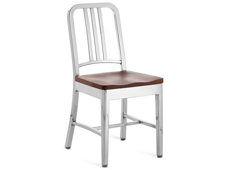 Emeco Outdoor Navy Polished Aluminum Dining Side Chair with Cherry Wood Seat PatioLiving