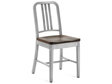 Emeco Outdoor Navy Brushed Aluminum Dining Side Chair with Walnut Wood Seat PatioLiving