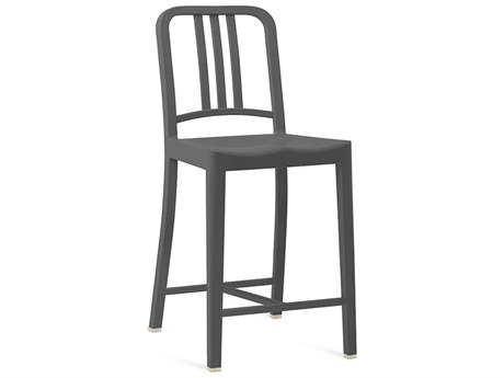 Emeco Outdoor Navy Recycled Plastic Charcoal Counter Stool PatioLiving