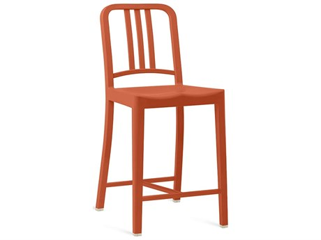 Emeco Outdoor Navy Recycled Plastic Persimmon Counter Stool PatioLiving