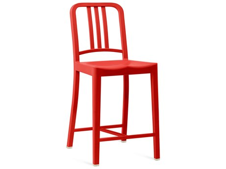 Emeco Outdoor Navy Recycled Plastic Red Counter Stool PatioLiving
