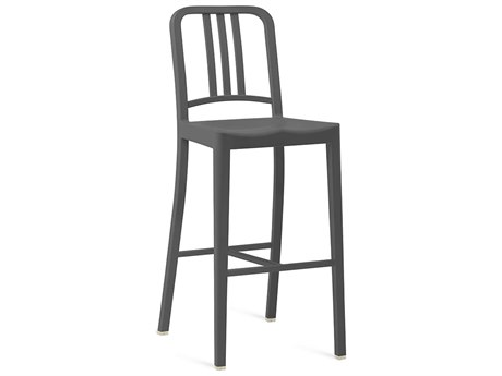 Emeco Outdoor Navy Recycled Plastic Charcoal Bar Stool