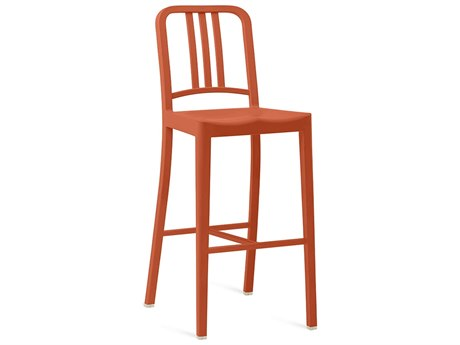 Emeco Outdoor Navy Recycled Plastic Persimmon Bar Stool