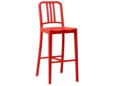 Emeco Outdoor Navy Recycled Plastic Red Bar Stool