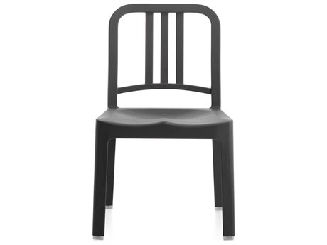 Emeco Outdoor Navy Recycled Plastic Charcoal Mini Dining Side Chair